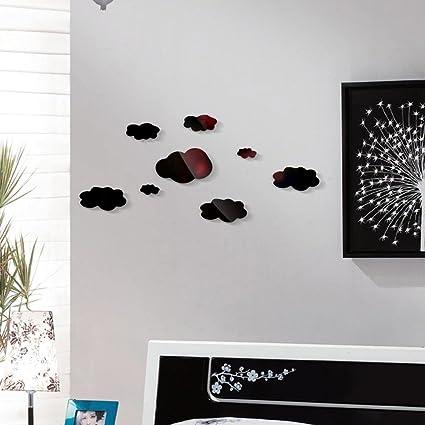 Mimihuhu 3D Miroir Stickers muraux 8PC Nuage Stickers muraux Décoration de  la maison Chambre à coucher Salon (A, Noir)