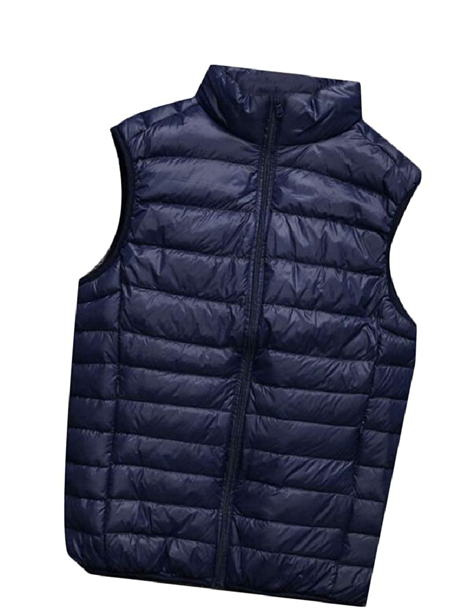 FLCH+YIGE Men Warm Winter Sleeveless Multi-Pockets Quilted Thick Down Vest Jackets