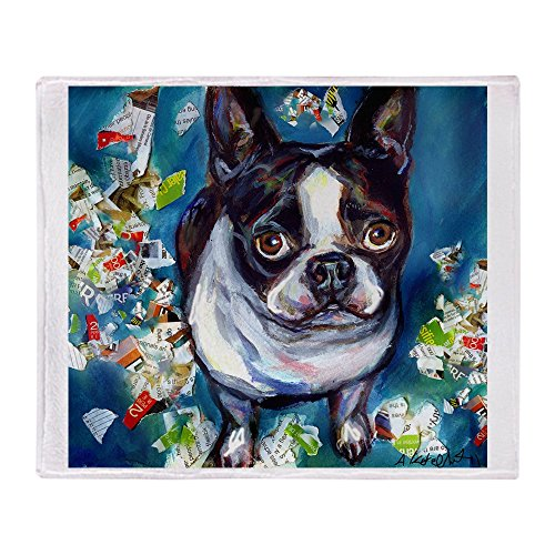 CafePress Boston Terrier Shredder Misch Soft Fleece Throw Blanket, 50