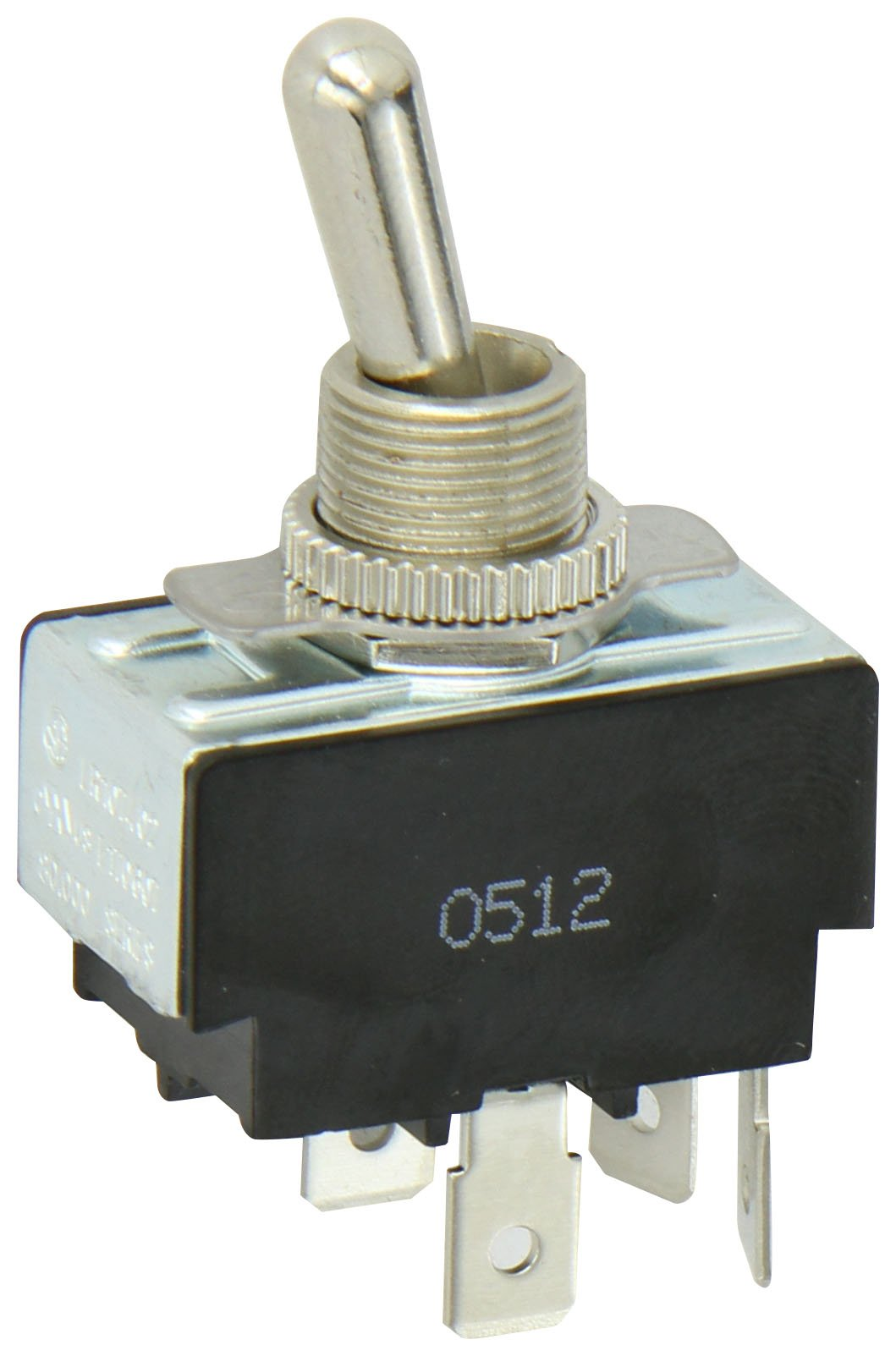 Toggle Switch, Maintained Contact and Multiple Pole, On Off Circut Function, DPST, Brass/Nickel Actuator, 15/10 amps at 125/250 VAC, 0.250 Quikconnect Connection