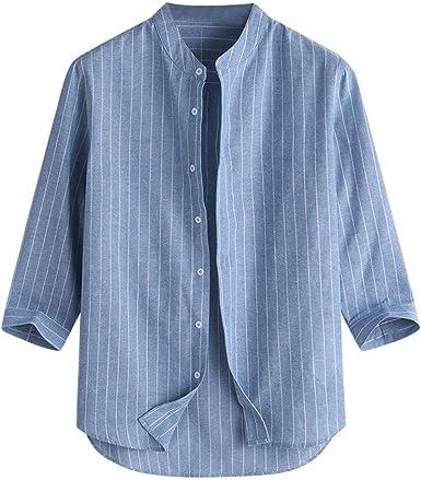 FAMILIZO Camisetas Hombre Originales Manga Corta Verano Camisa Hombre Verano Manga Corta Hombres Casual Camisetas Rayas Hombre Manga Corta Stand Cuello 7 Puntos Manga Botón Algodón Camisa Top Blusa: Amazon.es: Ropa y