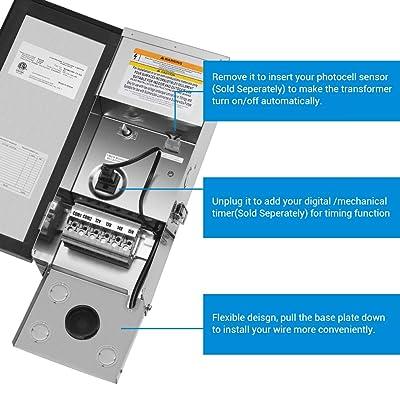 200W Digital 12V,15V Low Voltage Transformer with Photocell /& Timer IP65