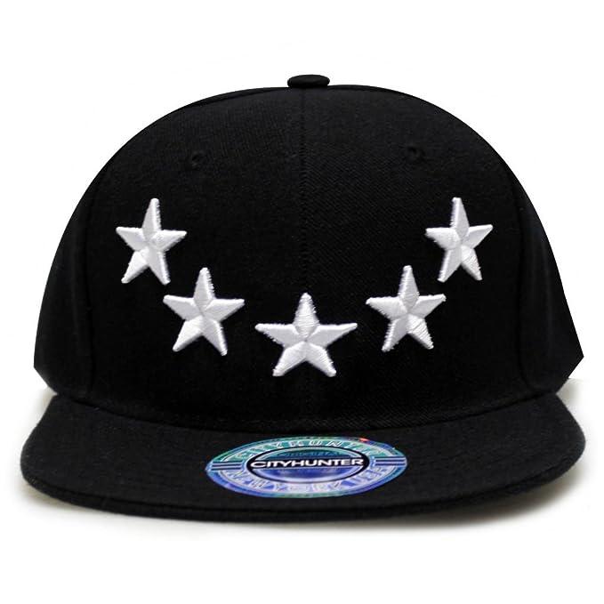 220d7e198e818 City Hunter Cf918 Five Stars Snapback Cap (Black) at Amazon Men s ...