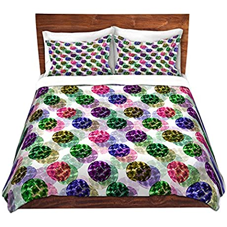 DiaNoche Designs Spots And Dots II Cover Brushed Twill Twin King 7 Queen Duvet Sham Set