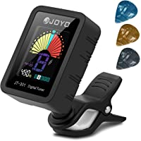 BROTOU Guitar Tuner Clip-On Tuner Digital Electronic Tuner Acoustic with LCD Display for Guitar, Bass, Violin, Ukulele (3 PCS Picks Included) (three) (JT-301-Full color)