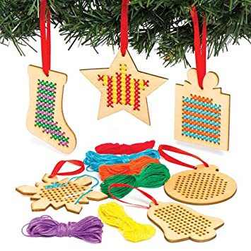 baker ross christmas wooden cross stitch hanging decoration kits for children to make and display for