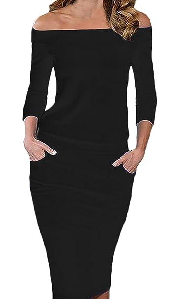 Vestiti Donna Vestitini Knielang Eleganti Spalla di Parola Matita Abito da  Sera Invernali Vestito Tubino Cerimonia Manica 3 4 con Tasca Tinta Abiti  Slim Fit ... fda16753e3f