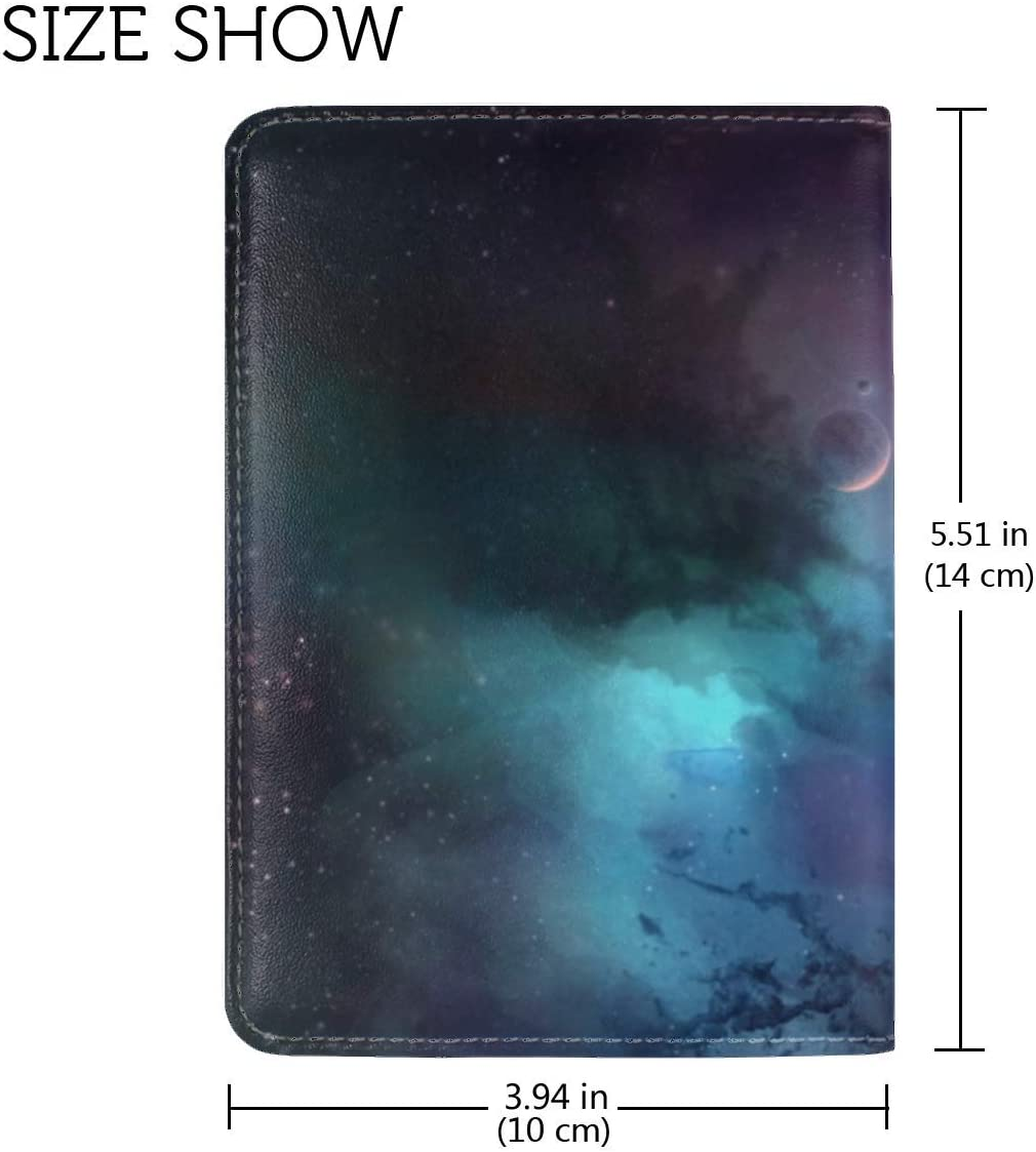 JiaoL Planets Space Universe Leather Passport Holder Cover Case Travel One Pocket