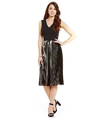 69ddf972b8 Antonio Melani Cilan Sleeveless Stretch Crepe Pleated Metallic Dress ...