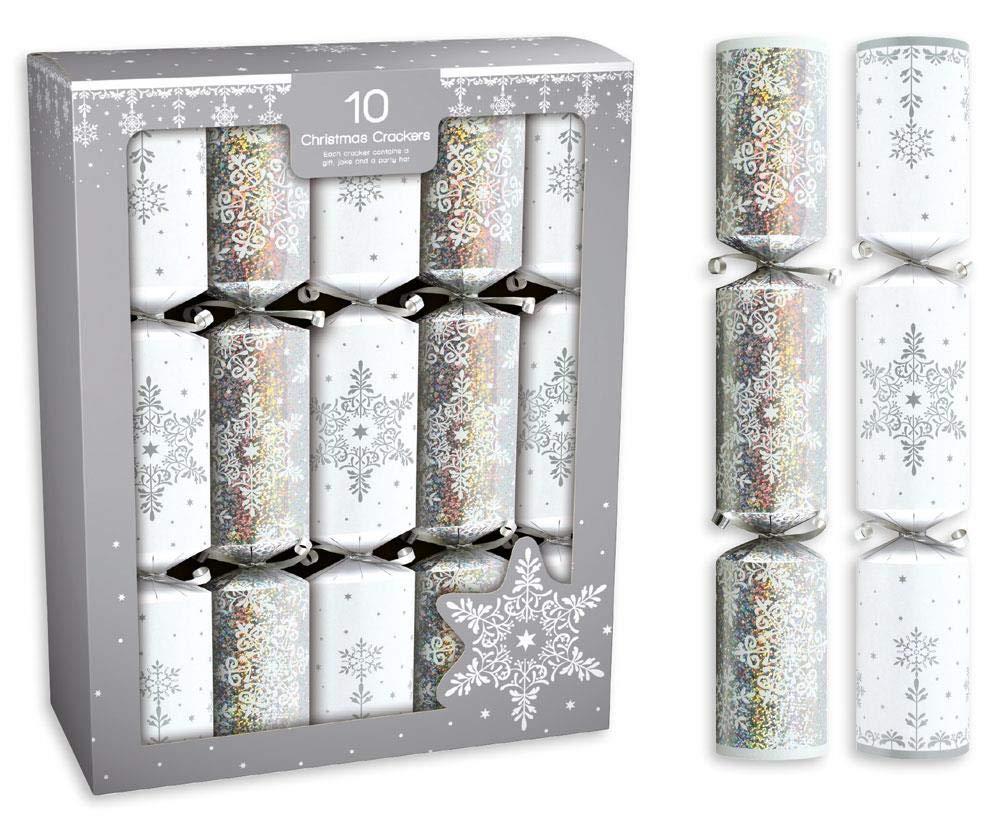 Anker 10 Silver & Flocon de Neige Blanc Christmas Cracker 14'' Repas Table Crackers Cadeaux