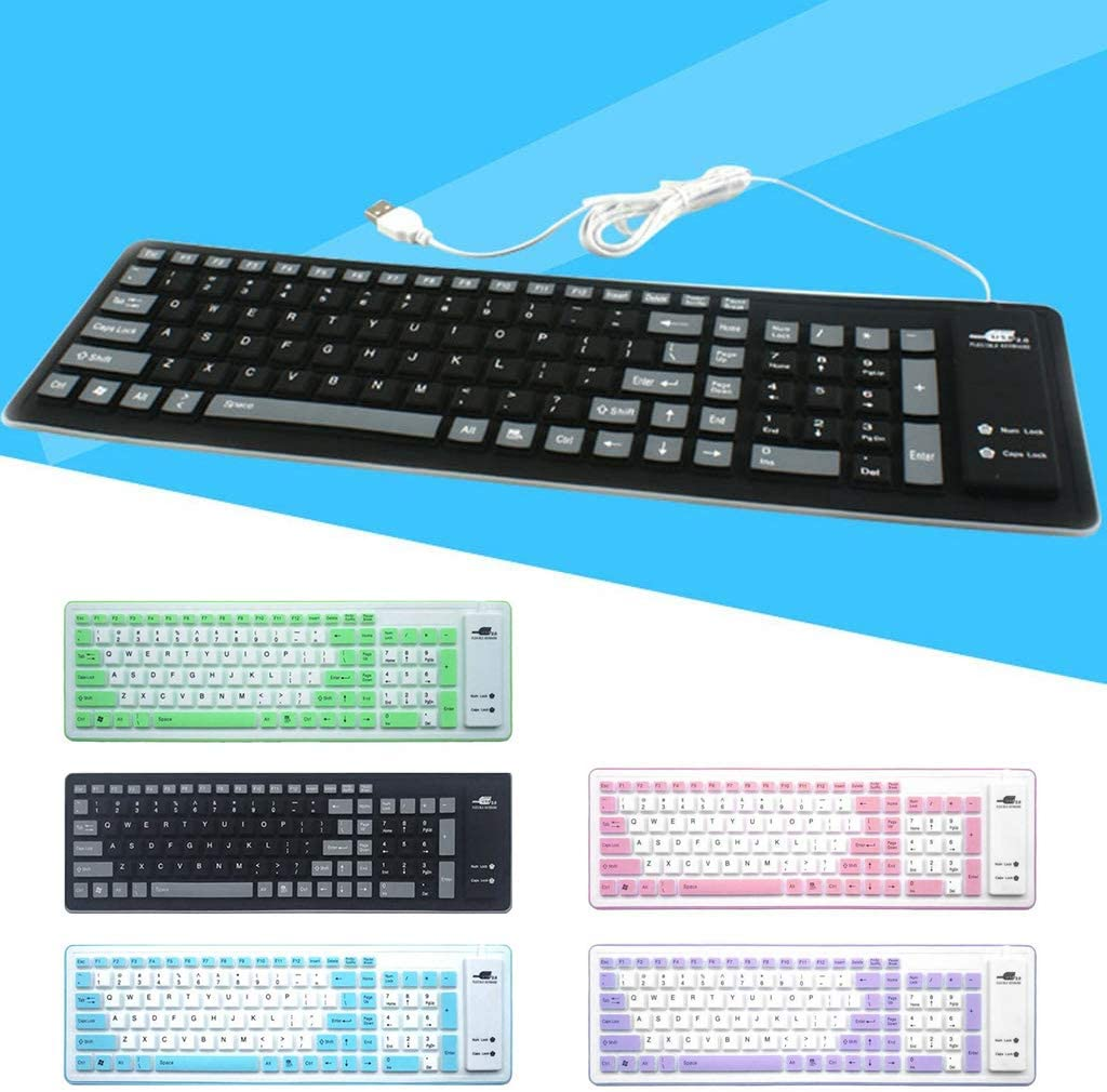Foldable Silicone Keyboard USB Wired Silicon Flexible Roll Up Soft Keyboard for PC Laptop Notebook