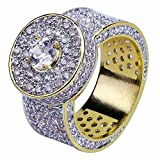 JINAO 18k Gold Cluster Hip Hop Iced Out Lab Simulated Diamond Micro Pave CZ Pinky Ring for Men