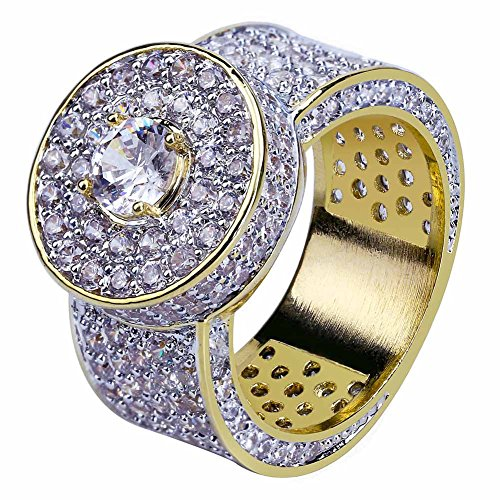 Micro Pave Ring (JINAO 18k Gold Cluster Hip Hop Iced Out Lab Simulated Diamond Micro Pave CZ Pinky Ring for Men)