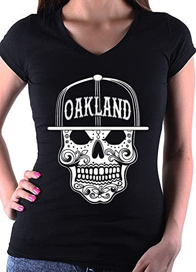 b53a2d43d Amazon.com: Women's Oakland California Mexican Art Sugar Skull Fitted Black  V Neck T shirt: Clothing