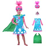 HuangWeida Trolls Poppy Costume for Girls, Princess Dress Halloween Cosplay Party, Toddler Fancy Dress 4pcs