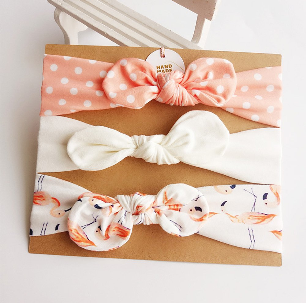 DANMY Baby Girl's Rabbit Ears Headband Cotton Cloth Elastic Hair Band Bow Boy Soft Turban (6pcs Bow(as Shown)) by DANMY (Image #3)