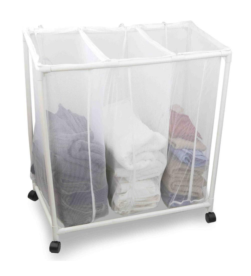 メッシュ洗濯物分類ソーターバスケット 車輪付き ホワイト B07J1SMGV1