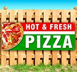 HOT & Fresh Pizza 13 oz Heavy Duty Vinyl Banner Sign with Metal Grommets, New, Store, Advertising, Flag, (Many Sizes Available)