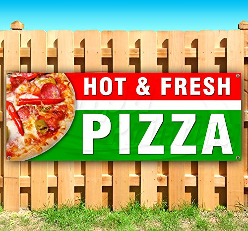 HOT & Fresh Pizza 13 oz Heavy Duty Vinyl Banner Sign with Metal Grommets, New, Store, Advertising, Flag, (Many Sizes Available) by Tampa Printing