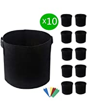 10 Pack Fabric Pots 5 Gallon, Breathable Thickened Nonwoven Grow Bags Durable Garden Planter Indoor & Outdoor Raised Bed Planting Grow Bags with Handles