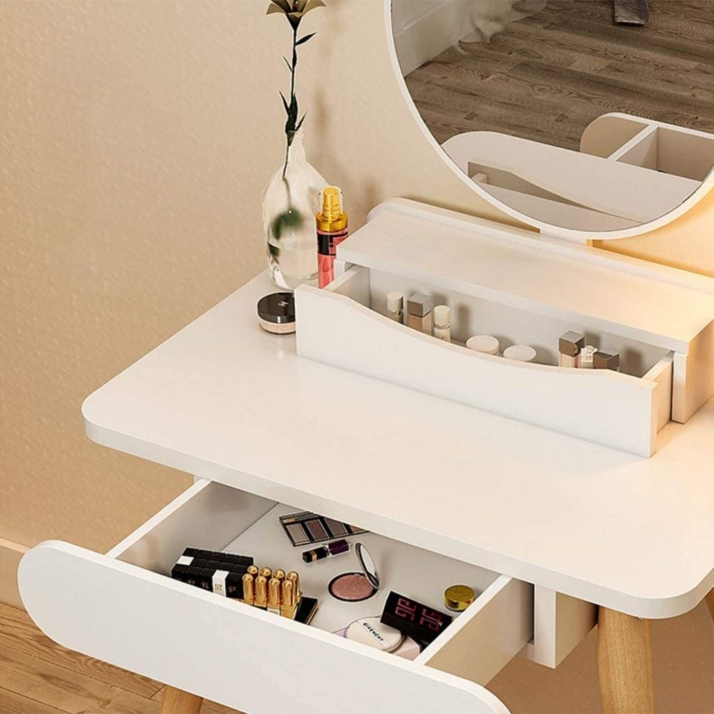 Dressing Table White Modern, with Height Adjustable Round Mirror