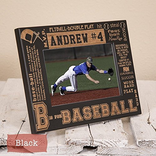 Baseball Picture Frame Personalized Wood Engraved Sports Senior Gift Coach Gift