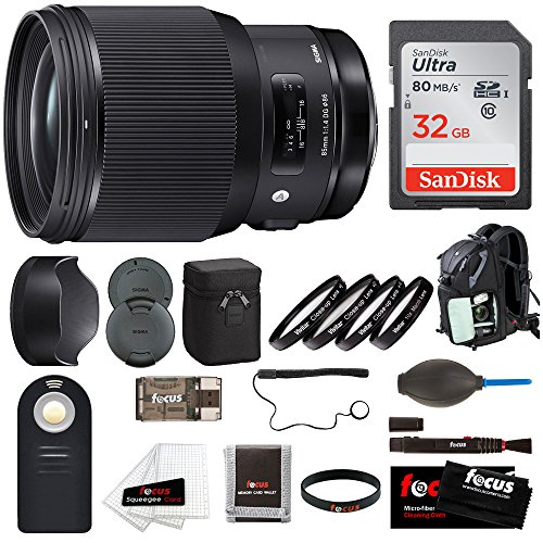 Sigma 85mm f/1.4 DG HSM Art Lens for Canon EF w/ Focus Accessory Bundle