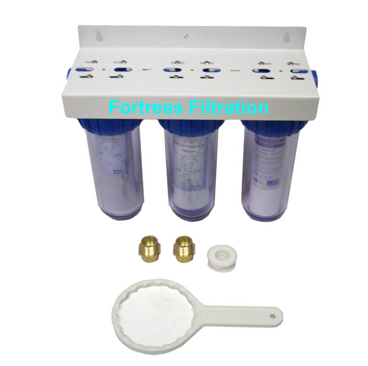 Fortress Filtration Triple Stage 10'' x 2.5'' Water Filter Housing w/filters 3/4 1 inch/wrench/bracket