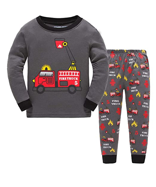 2b3470909b Amazon.com  Kids Firetruck Pajamas 100% Cotton Long Sleeve Toddler Night Clothes  Set Sleepwear for Boys Size 2Y-7Y (7