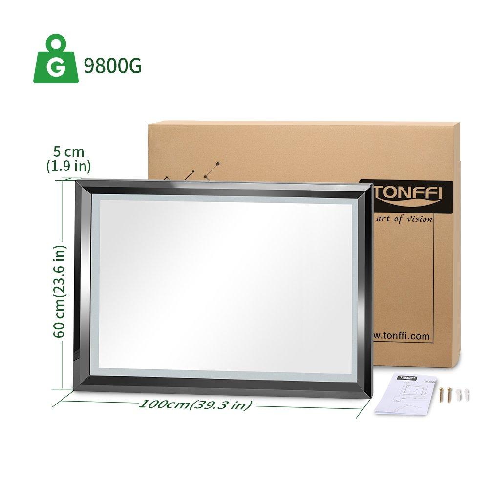 Tonffi 30W Miroir LED 100/×60CM Lampe de Miroir 4000K Blanc Neutre pour Salle de Bain