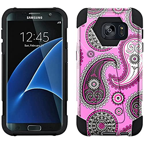 Samsung Galaxy S7 Edge Hybrid Case Paisley Pink Black on Pink 2 Piece Style Silicone Case Cover with Stand for Samsung Galaxy S7 Edge Sales