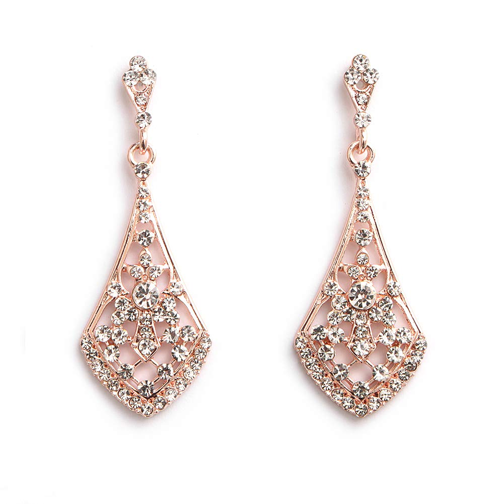 HapiBuy Crystal Waterdrop Earrings Long Dangle Earrings Classic Wedding Jewelry for Bride Fashion Earring Sliver Color