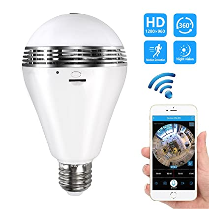 Vr 360degree Panoramic Bulb Lamp Fish Eye Lens Wireless Ip Wifi Ir Night Vision Camera Home Security Surveillance Mini Camcorders