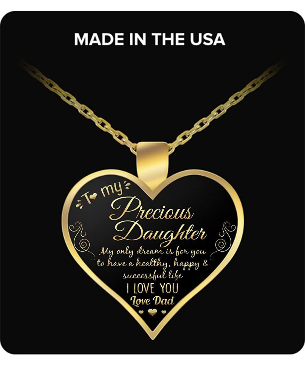Gold Pendant Necklace Vuvuzi Tee to My Precious Daughter I Love You