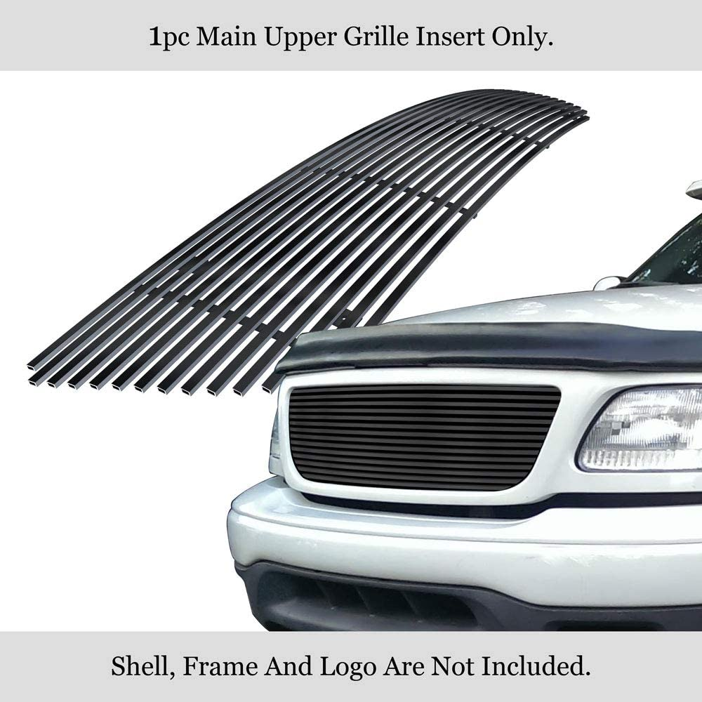 APS Compatible with 1999-2003 F-150 Bar Style Harley Davidson Lightning with Logo Show Main Upper Stainless Steel Polished Chrome 8X6 Horizontal Billet Grille Insert S18-S32756F