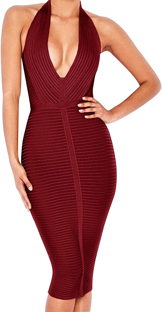Women's Sexy Halter Deep V Neck Club Party Bandage Dress