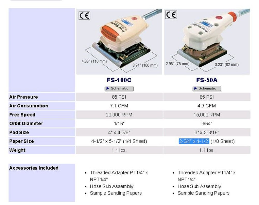 Nitto Kohki FS-100C Free Sander, 15,000 RPM, 3/64