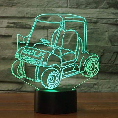 3D Carrito de Golf ilusión Optica Lámpara Luz Nocturna 7 Colores Cambiantes Touch Switch USB de