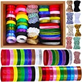 Supla 50 Rolls 300 Yards 5 Kinds of Ribbons Satin Ribbons Grosgrain Ribbons Organza Ribbons Wrapping Ribbon Velvet Ribbon Blue Red White Yellow Pink Black Navy Purple Ribbons 3/8' Wide Craft Ribbons