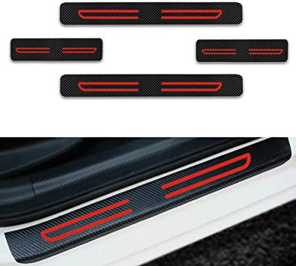 Car Door Sill Protector Sticker 4D Carbon Fiber Car Door Guard Bumper Protection Trim Cover Scuff Plate Sticker Anti-Kick Scratch with Strong Adhesive for Car SUV Pickup Truck Sedan 4PCS