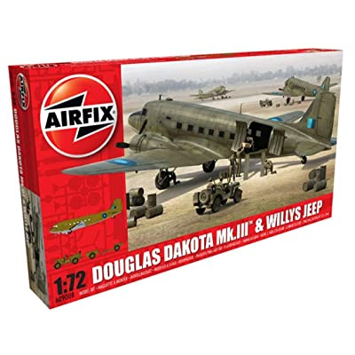 Airfix A09008 Douglas Dakota MK III with Willys Jeep Military Plastic Model Kit (1:72 Scale): Toys & Games