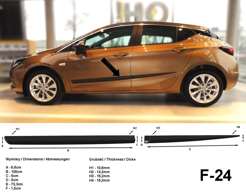 Spangenberg 370002403 - Listones de protección Lateral para Opel Astra K (Modelos a Partir de 06.2015- F24), Color Negro