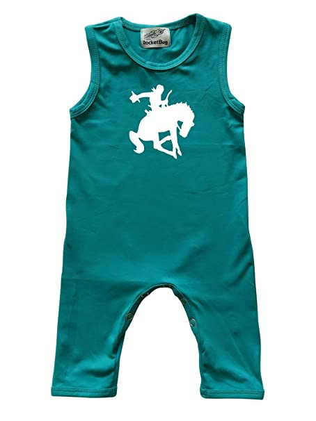 e620f61cdaea Amazon.com  Rocket Bug Bucking Cowboy Sleeveless Baby Romper For ...