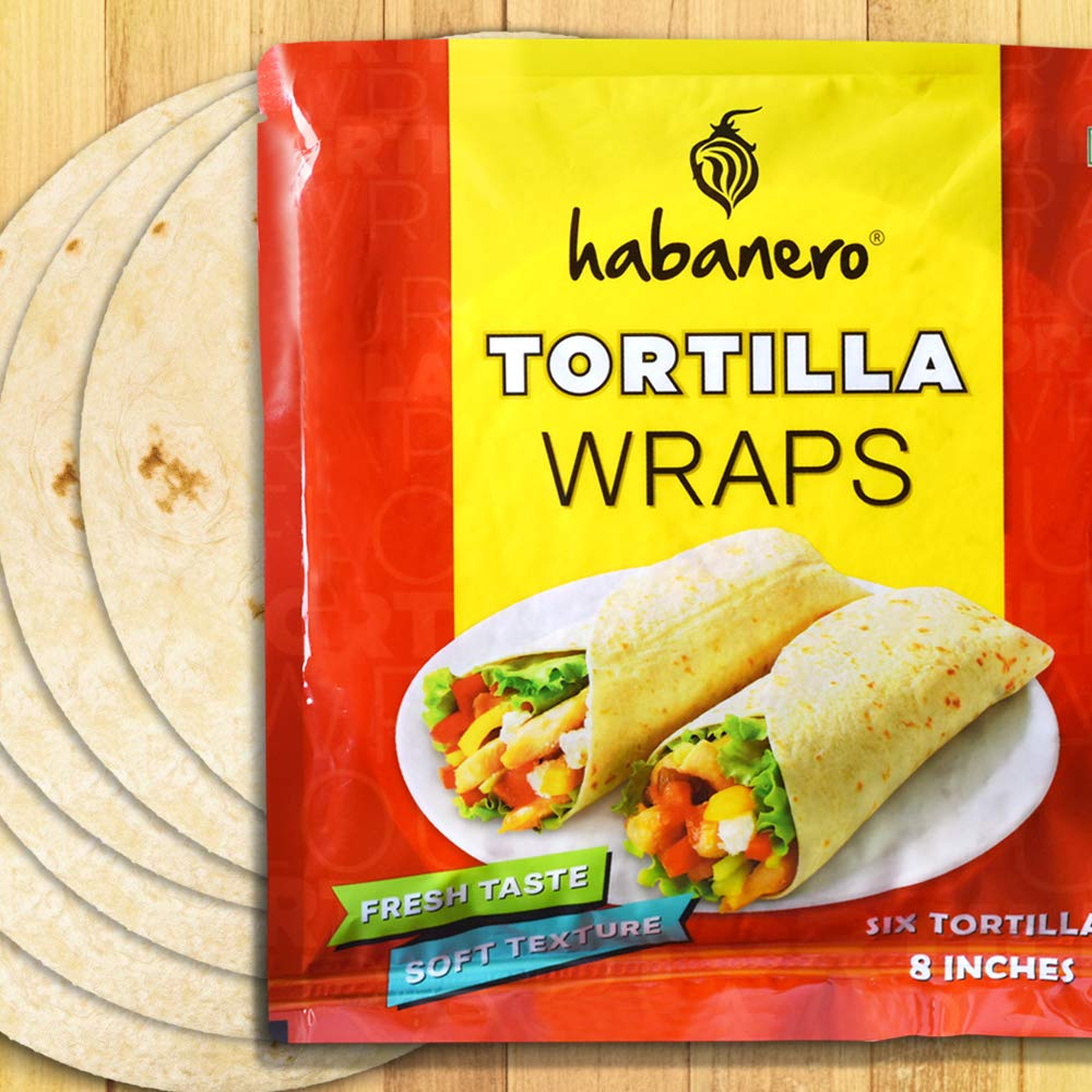 Habanero Tortilla Wraps 8 Inches l Fresh Taste & Soft Texture l Best for Burrito, Wraps, Tacos, Samosas, Shawarmas and Rolls l Ready to Eat Healthy Food in 60 Seconds l On The Go l 330G