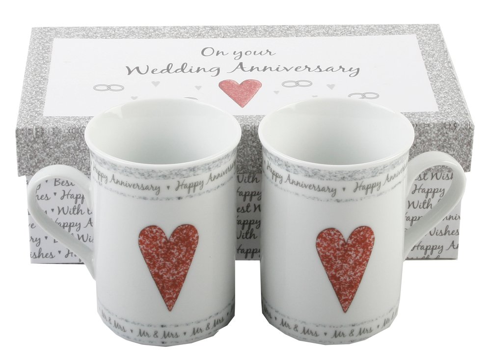 On Your Wedding Anniversary Two Fine Porcelain Gift Boxed Mugs