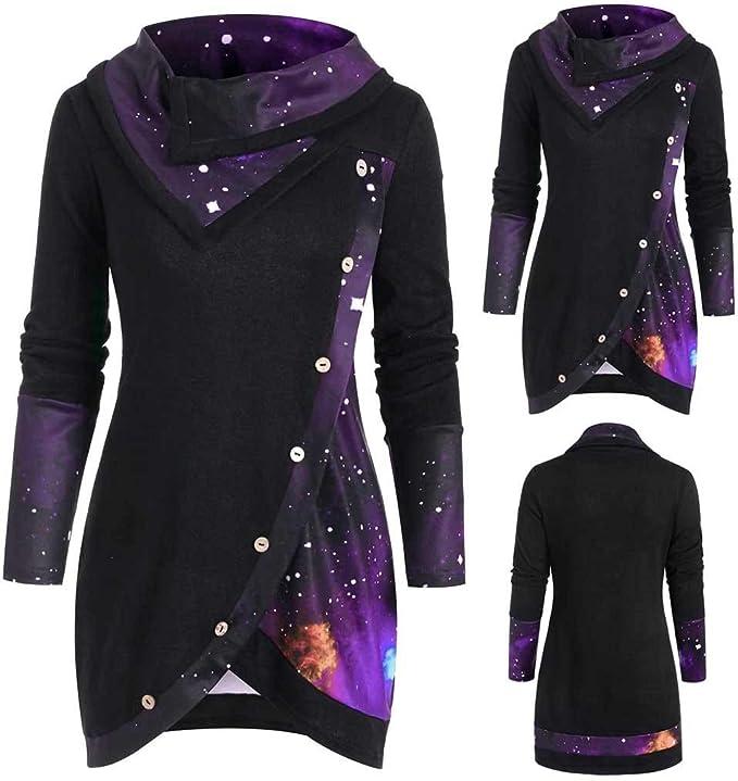 TTLOVE Galaxy Plaid damska koszulka z długim rękawem, dekolt w kształcie litery O, nieregularne kostki, elegancka sukienka: Odzież