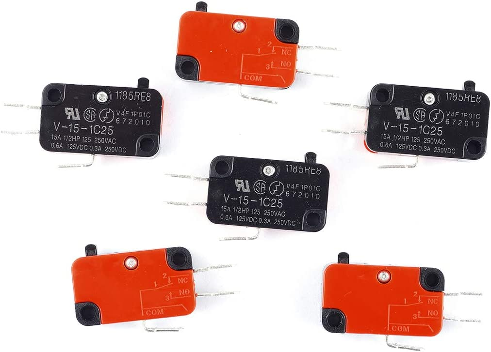 Cylewet 6Pcs V-15-1C25 Snap Button Type Micro Limit Switch SPDT 1 NO 1 NC for Arduino (Pack of 6) CYT1111