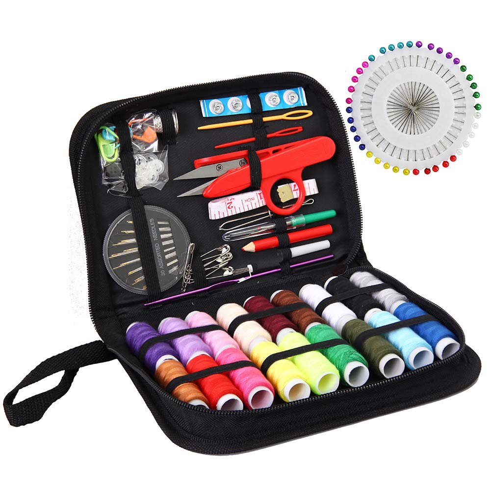 Sewing KIT, XL Sewing Supplies for DIY, Beginners, Emergency, Kids, Summer Campers, Travel and Home,Sewing kit with Scissors, Thimble, Thread, Needles, Tape Measure, Carrying Case and Accessories WeeCosy