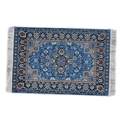 EMiEN Blue Floral Print Vintage Woven Carpet Rug Blanket Miniature Ornament Kits,Miniature Ornament for DIY Dollhouse Decoration
