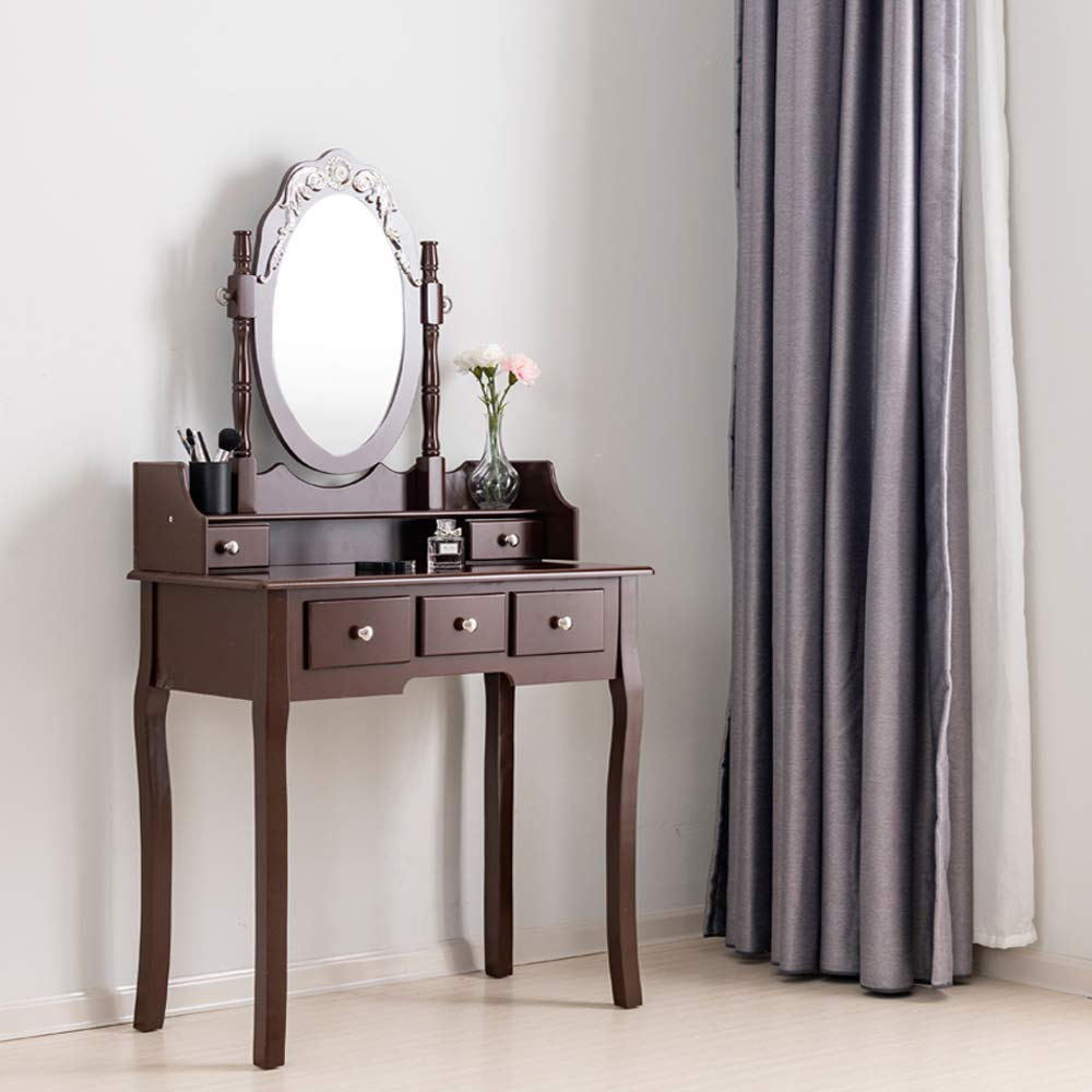 360 Degree Rotating Mirror MDF Bathroom Vanity Makeup Table Set with Stool & 5 Drawers (Brown)